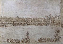 A Procession of Triumphal Cars in Piazza San Marco, Venice, Celebrating the Visit of Archduke Paul and Archduchess Maria Feodorovna of Russia, 1782 by Francesco Guardi   Painting Reproduction