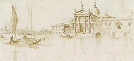 San Giorgio Maggiore, Venice; verso: Flagstaff with a Pennant, c.1765/75 by Francesco Guardi   Painting Reproduction