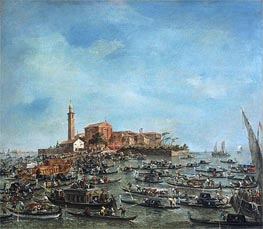 The Meeting of Pope Pius VI and Doge Paolo Renier at San Giorgio in Alga, 1782 by Francesco Guardi | Painting Reproduction