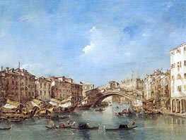 Venice: the Grand Canal with the Riva del Vin and Rialto Bridge, c.1770 by Francesco Guardi | Painting Reproduction