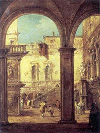 Capriccio with the courtyard of the Doge's Palace, c.1770 by Francesco Guardi | Painting Reproduction