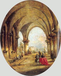 Capriccio with the Arcade of the Doge's Palace and Saint Giorgio Maggiore, c.1780 by Francesco Guardi | Painting Reproduction