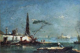 Capriccio of an Island in the Lagoons, undated by Francesco Guardi | Painting Reproduction
