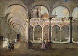 Cloister in Venice, undated by Francesco Guardi | Painting Reproduction