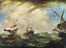 Ships in the Sea, Thunder-Storm, c.1765/70 by Francesco Guardi | Painting Reproduction