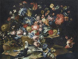 A Still Life with Various Flowers in a Basket, Together with Two Doves in Landscape | Francesco Guardi | outdated