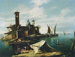 A Capriccio of a Venetian Lagoon with Fishermen in Gondolas | Francesco Guardi | outdated