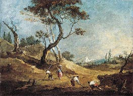 A Pastoral Landscape with Peasants Hoeing and a Washerwoman Before Some Trees, c.1770 by Francesco Guardi | Painting Reproduction