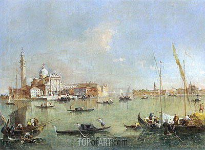 Venice: San Giorgio Maggiore with the Giudecca and the Zitelle, c.1760/76 | Francesco Guardi | Gemälde Reproduktion