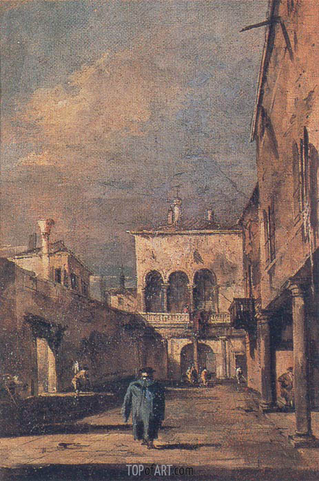 Francesco Guardi | Courtyard in Venice, c.1775/80
