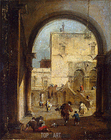 Venetian Capriccio: View of a Square and a Palace, c.1775/80 | Francesco Guardi | Painting Reproduction