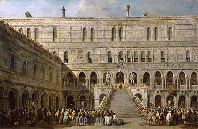 Francesco Guardi | The Coronation of the Doge of Venice on the Scala dei Giganti of the Palazzo Ducale, c.1766/70