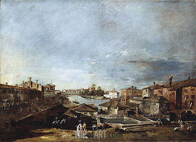 Francesco Guardi | View of Dolo on the Brenta, c.1774/76
