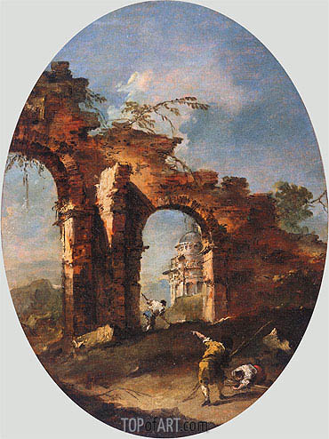 Landscape Capriccio with Figures, undated | Francesco Guardi | Painting Reproduction