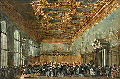 The Doge of Venice Grants an Audience in the Sala del Collegio in the Ducal Palace, c.1775/80 | Francesco Guardi| Gemälde Reproduktion