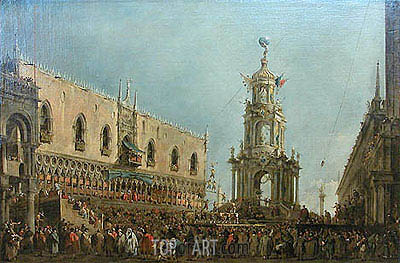 The Doge in the Shrove Tuesday Festival on the Piazzetta, Venice, c.1775/80 | Francesco Guardi| Painting Reproduction