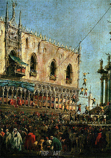 The Doge in the Shrove Tuesday Festival on the Piazzetta, Venice (detail), c.1775/80 | Francesco Guardi| Painting Reproduction