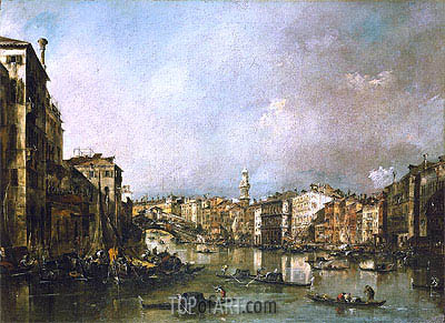 View up the Grand Canal Toward the Rialto, c.1785 | Francesco Guardi| Painting Reproduction