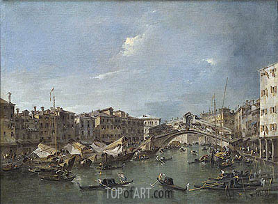 Grand Canal with the Rialto Bridge, Venice, c.1780 | Francesco Guardi | Painting Reproduction