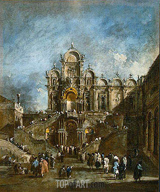 Temporary Tribune in the Campo San Zanipolo, Venice, c.1782 | Francesco Guardi| Painting Reproduction