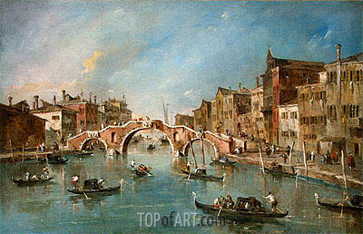 View on the Cannaregio Canal, Venice, c.1775/80 | Francesco Guardi | Painting Reproduction