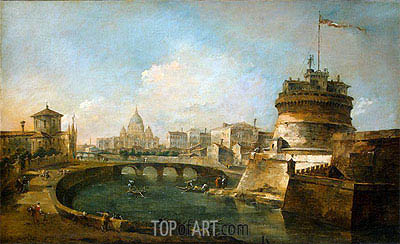Francesco Guardi | Fanciful View of the Castel Sant'Angelo, Rome, c.1785