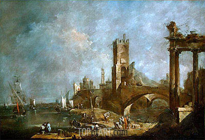 Francesco Guardi | Capriccio of a Harbor, c.1760/70