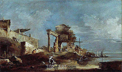 Capriccio, a.1770 | Francesco Guardi | Gemälde Reproduktion