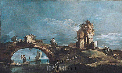Francesco Guardi | Capriccio: Lake, Bridge and Ruins, a.1770