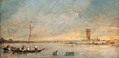 View of the Venetian Lagoon with the Tower of Malghera, c.1770 | Francesco Guardi | Painting Reproduction