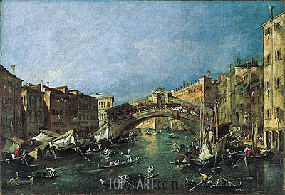 View of the Rialto, Venice from the Grand Canal, c.1780/90 | Francesco Guardi| Painting Reproduction
