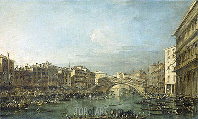 Regatta at the Grand Canal at the Rialto Bridge in Venice, c.1780/93 | Francesco Guardi | Painting Reproduction