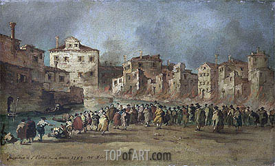 The Fire in the District of San Marcuola, Venice, 28 Novembe | Francesco Guardi| Gemälde Reproduktion