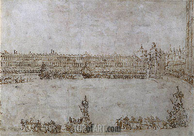 Francesco Guardi | A Procession of Triumphal Cars in Piazza San Marco, Venice, Celebrating the Visit of Archduke Paul and Archduchess Maria Feodorovna of Russia, 1782