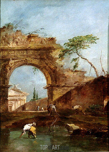 Landscape - Capriccio, c.1780 | Francesco Guardi | Painting Reproduction