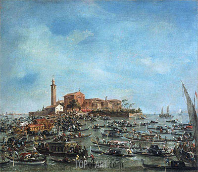 The Meeting of Pope Pius VI and Doge Paolo Renier at San Giorgio in Alga, 1782 | Francesco Guardi | Painting Reproduction