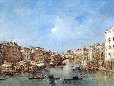 Venice: the Grand Canal with the Riva del Vin and Rialto Bridge, c.1770 | Francesco Guardi| Painting Reproduction