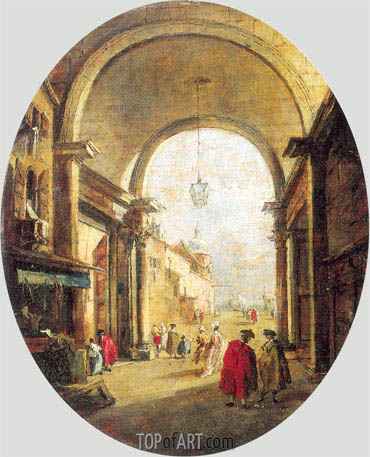 Capriccio with the Archway of the Torre dell'Orologio, a.1780 | Francesco Guardi | Painting Reproduction