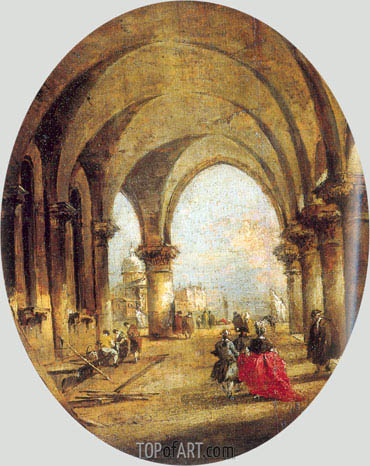Capriccio with the Arcade of the Doge's Palace and Saint Giorgio Maggiore, c.1780 | Francesco Guardi | Painting Reproduction