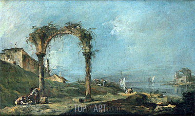 View of a Ruined Arch and the Venice Lagoon, c.1770/75 | Francesco Guardi| Painting Reproduction