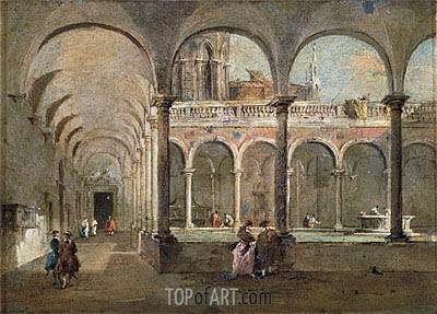 Cloister in Venice, undated | Francesco Guardi | Painting Reproduction