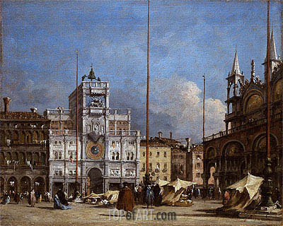 The Square at St. Mark's, Venice - A View of the Facade of the Torre dell' Orologio, c.1785 | Francesco Guardi | Gemälde Reproduktion