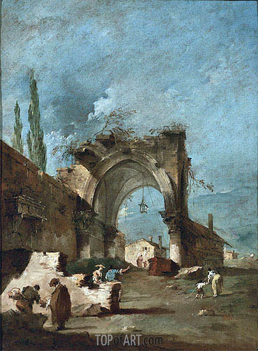 Francesco Guardi | A Capriccio of Buildings on the Laguna with Figures by a Ruined Arch, c.1778/80