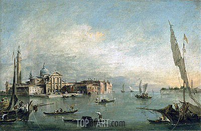 A View of the Bacino di San Marco with San Giorgio Maggiore and the Punta della Giudecca, c.1785 | Francesco Guardi | Gemälde Reproduktion