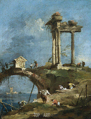 A Capriccio View of a Ruined Temple near a Bridge, undated | Francesco Guardi | Painting Reproduction