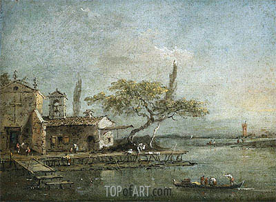 A View of the Island of Anconetta with the Torre di Marghera Beyond, c.1788/90 | Francesco Guardi| Gemälde Reproduktion