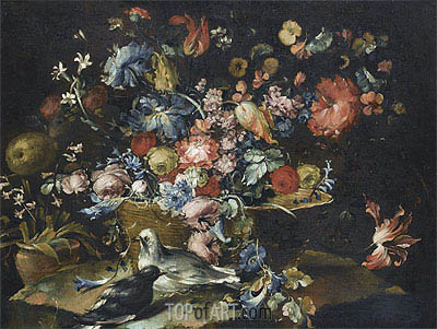 A Still Life with Various Flowers in a Basket, Together with Two Doves in Landscape, undated | Francesco Guardi | Painting Reproduction