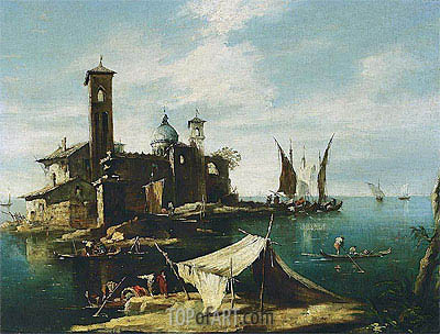 A Capriccio of a Venetian Lagoon with Fishermen in Gondolas, undated | Francesco Guardi | Painting Reproduction
