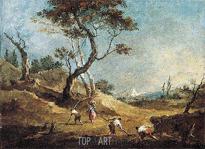 A Pastoral Landscape with Peasants Hoeing and a Washerwoman Before Some Trees, c.1770 | Francesco Guardi | Gemälde Reproduktion