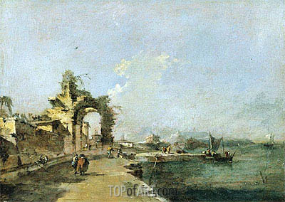 A Venetian Capriccio of the Lagoon with Figures and a Ruined Arch Beyond, c.1775/80 | Francesco Guardi | Painting Reproduction